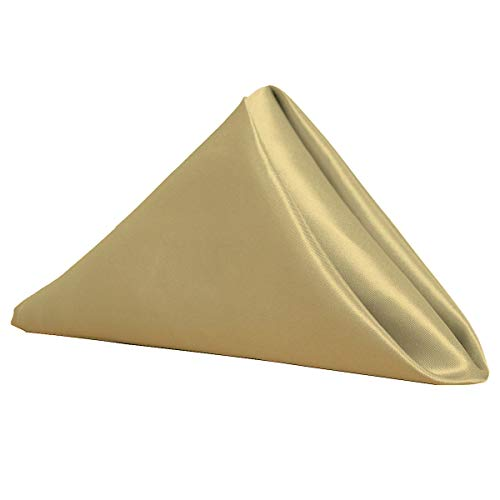 Your Chair Covers 20 Inch Satin Cloth Napkins (Pack of 10) (Champagne)