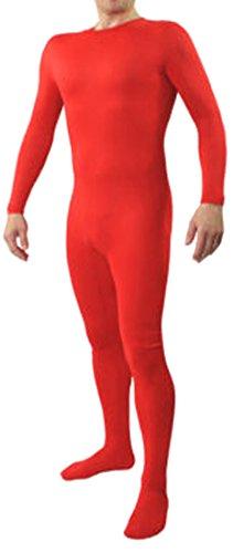 Seeksmile Unisex Lycra Spandex Zentai Body Suit Hoodless Catsuit (Large, Red)
