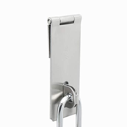 Metal Door Hasp (Alise MS700-5C 5-Inch Dilated Padlock Hasp Door Clasp Heavy Duty Gate Lock,Stainless Steel Brushed Nickel)