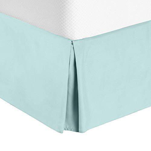 "Nestl Bedding Pleated Bed Skirt - Luxury Microfiber Dust Ruffle, 14"" Tailored Drop, Twin, Baby Blue - Kids Twin Bedskirt"