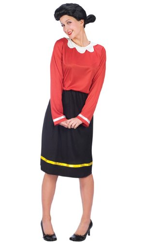 FunWorld Women's Olive Oyl Costume Size 10-14, Black, M/L 10-14]()