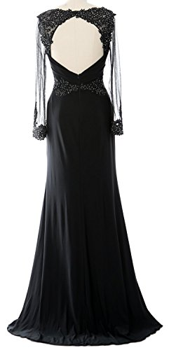Beaded Sleeve Formal Brides Lace Gown MACloth Dress of Long Women Schwarz Mother Evening RqWx6Zn