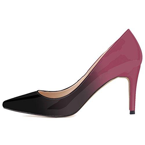 Color Zapatos Estilete Charol Gradiente Vino Cuero De Boca Womens Lucha De De Tacón Alto Bombas De Xianshu x0UqZwzfR