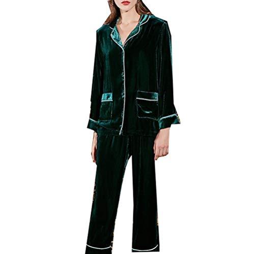 Mujer Gruesa Emerald Invierno Dos Inferior Seda Traje Servicio Pantalones Pijamas Largos Para E Superior Piezas Otoño Terciopelo De Hogar wpvqqUZ