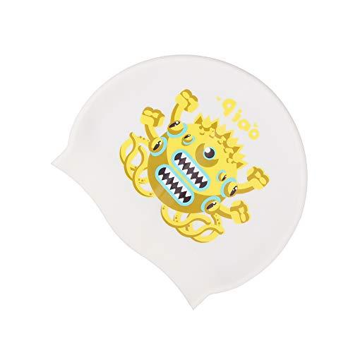 LO HOME Silicone Kids Swim Cap, Long Short Hair Children Cute Cartoon Swimming Caps Keep Hair Dry Toddler Waterproof Cap for Girls Boys (Big Mouse Monster)