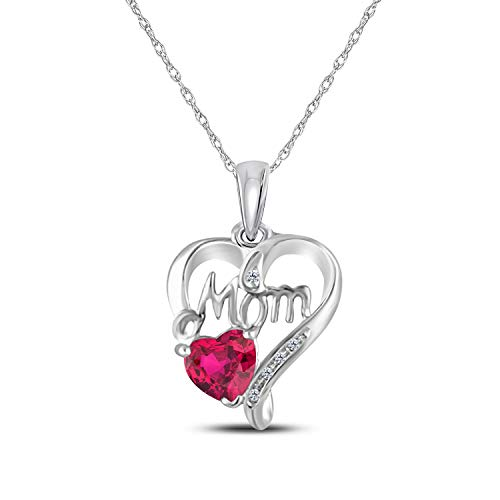 Heart Necklace 14K White Gold Plated 925 Sterling Silver Mom Pendant Necklace Love Ruby Heart Necklace for Women Mother's Day Gift