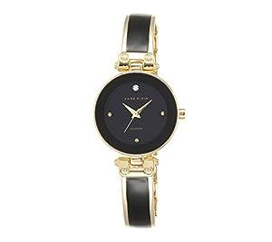 Anne Klein Black and Goldtone Diamond Dial Watch