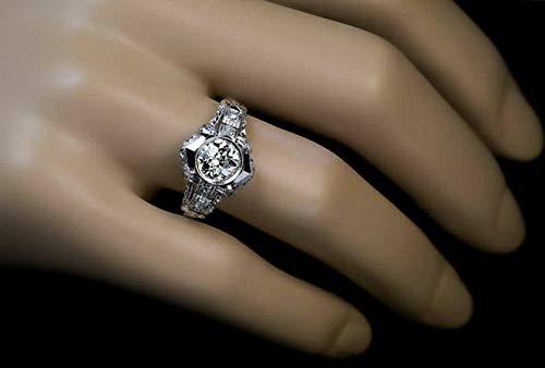 Crookston White Topaz 925 Silver Woman Men Elegant Jewelry Wedding Proposal Ring Size 5-10 | Model RNG - 15767 | ()