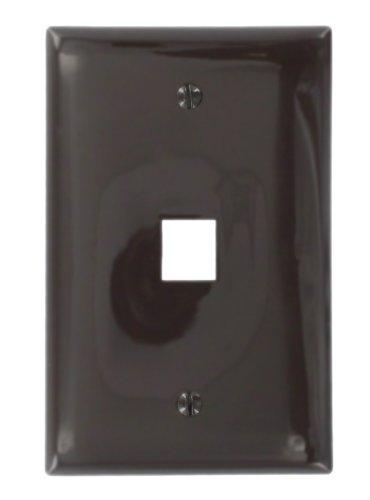 (Leviton 41091-1BN QuickPort Midsize Wallplate, Single Gang, 1-Port, Brown)