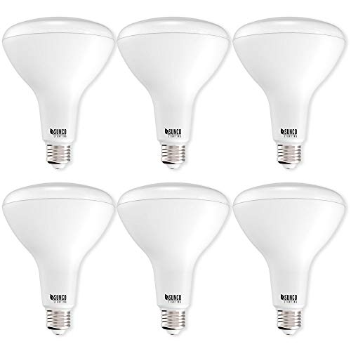Sunco Lighting 6 Pack BR40 LED 17 watt (100W equivalent), 3000K Warm White, Dimmable, Indoor Outdoor lighting, 1400 Lumens, Flood Light Bulb UL Energy Star Listed