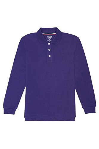French Toast Little Boys' Long-Sleeve Pique Polo Shirt, Purple, X-Small/4-5 by French Toast