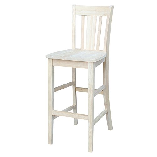International Concepts S-103 San Remo Stool, 30-Inch SH, - Unfinished Stool Wood Bar