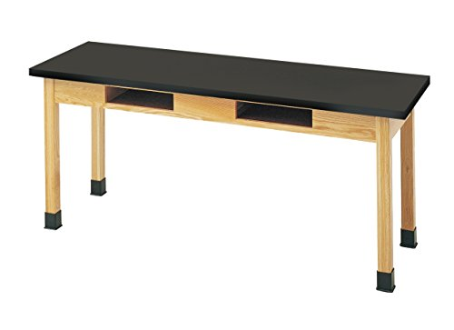DIVERSIFIED WOODCRAFTS C7302K30N Oak Table with Book Compartments, ChemArmor Top, 72