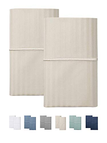 (FEATHER & STITCH NEW YORK 500 Thread Count (Beige, Standard Pillowcases))