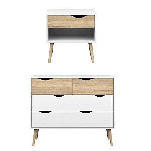 Tvilum Diana 2 Piece Mid Century Modern Chest and Nightstand Set in White and Oak