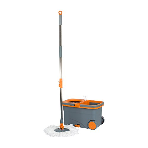 Casabella Spin Cycle Mop with Bucket-Graphite/Orange