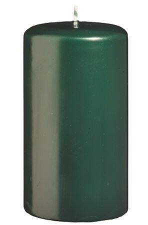 Lot de 12 Bougies Pilier Vert fonc/é 8 x 4 cm