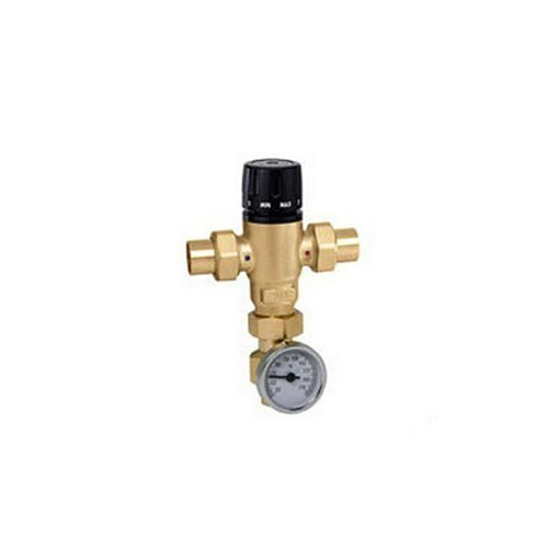 Caleffi 521519AC Mixing Cal 3-Way Thermo Mixing Valve with checks, Low-Lead Brass with Adaptor by Caleffi (Caleffi Mixing)