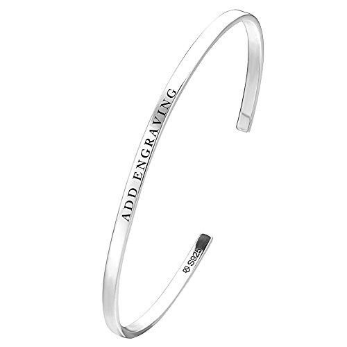 Customized Silver Bracelets (SOUFEEL Customized Bangle Bracelets Engraved with Letters 925 Sterling Silver Bracelet Personalized Bangles)