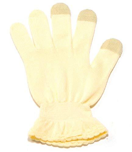 戦術光のプロットイチーナ【ハンドケア手袋タッチあり】スマホ対応 天然保湿効果配合繊維 (クリーム, S~M(17~20㎝))