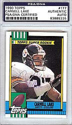 cf9dc04374c Carnell Lake Signed 1990 Topps Rookie Card  177 Pittsburgh Steelers -  PSA DNA Authentication