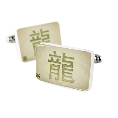 Cufflinks Dragon Chinese characters, green letter Porcelain Ceramic NEONBLOND Dragon Green Cufflinks