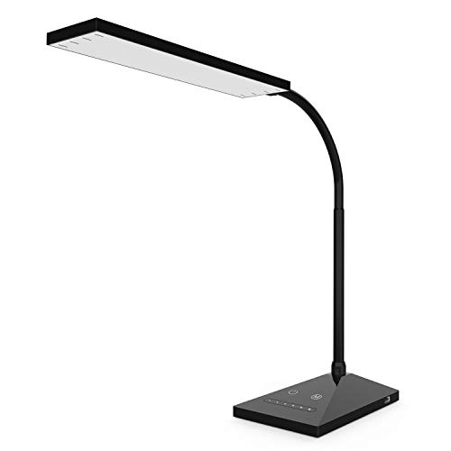 KOOTION LED Desk Lamp, Eye-Caring Table Lamp with USB Charging Port, 5 Color Modes & 7 Brightness Levels,Touch Control, Flexible Gooseneck, Memory Function 12 W Night Light for Study Dorm Work, Black