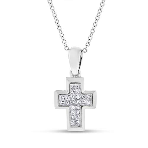 (0.25 Ct. Natural Diamond Princess Invisible Set Baby Cross in Solid 14k White Gold )