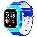 LEMFO Q90 Samrt Watch for Kids, GPS Tracker Sim Card Smartwatch Phone Anti-lost Finder with SOS Call Children Wristwatch Fitness Tracker Bracelet with Parents Control App for Android IOS (Blue)