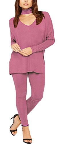 F&F Womens Ladies Chocker Neck Long Sleeve Top Legging Bottoms Tracksuit Loungewear (SM, Rose Pink) by Fashion & Freedom