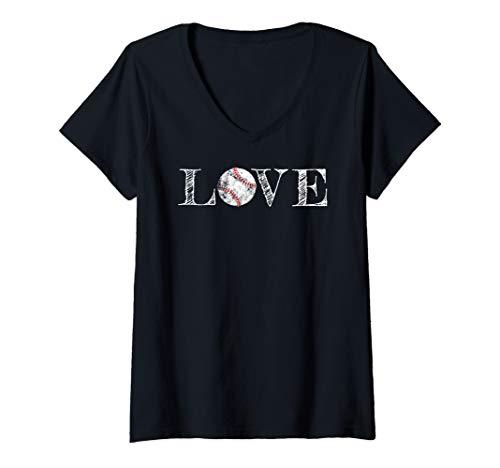 Womens Baseball Lover Mom Girlfriend Distressed Graphic Gift Shirt V-Neck T-Shirt
