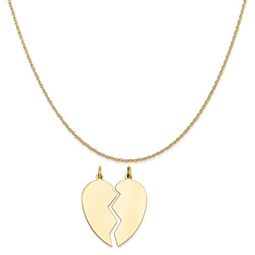 14k Yellow Gold 2 Piece Heart Charm on a 14K Yellow Gold Rope Chain Necklace, 16