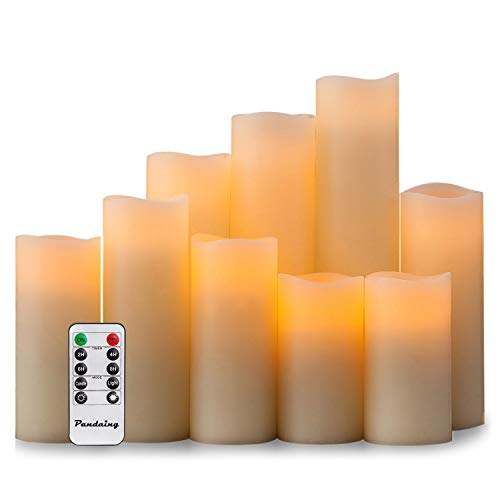 Pandaing Flameless Candles Battery Operated LED Pillar Real Wax Flickering Electric Unscented Candles with Remote Control Cycling 24 Hours Timer Ivory Color Set of 9