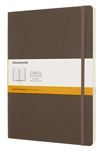 "Moleskine Classic Notebook, Soft Cover, XL (7.5"" x 9.5"") Ruled/Lined, Earth Brown, 192 Pages"