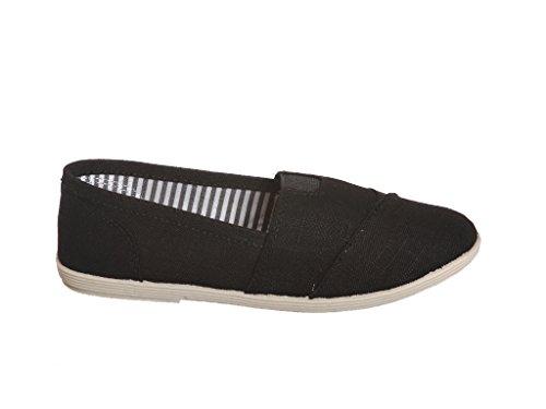 Trendy Linen Canvas Slip on Round-toe Flat Shoes Black White HHAZIWXWM