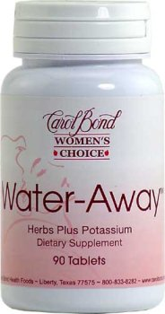 Carol Bond Water Away A Natural Diuretic with a Combination of Herbs that Gently and Safely Removes Excess Water 90 Tablets