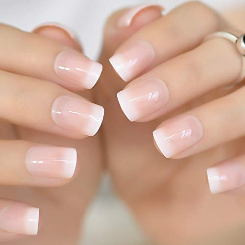 CoolNail Pink Nude White French Fake Nails Squoval Square UV Gel False Press on Nails for Girl Full Cover Wear Finger Nail Art Tips (Very Easy Nail Designs For Short Nails)