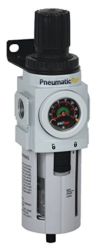 PneumaticPlus PPP4-N04BG Compressed Air Filter Regulator, Piggyback Combo, 1/2'' NPT, 5 Micron, Poly Bowl, Manual Drain, Bracket, Embedded Gauge by PneumaticPlus