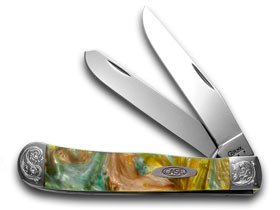 CASE XX Engraved Bolster Series Abaloen Genuine Corelon Trapper Pocket Knives