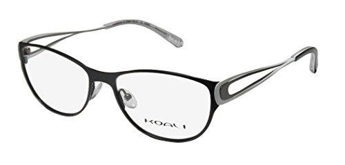 Koali 7258k Womens/Ladies Ophthalmic European Style Designer Full-rim Eyeglasses/Glasses (53-16-135, Black / White / - Ophthalmics Shape