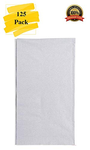 MM Foodservice 125 Count 2 Ply Paper Dinner Napkins perfect for Weddings, Parties, Dinners or Events (SILVER) ()