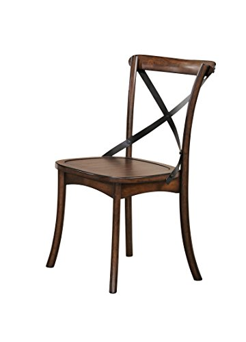 "ACME Furniture 73032 Kaelyn Dark Oak Side Chair (Set of 2) - Armless chair Wooden Seat Wooden backrest with ""x"" metal - kitchen-dining-room-furniture, kitchen-dining-room, kitchen-dining-room-chairs - 31EA54BAX3L -"