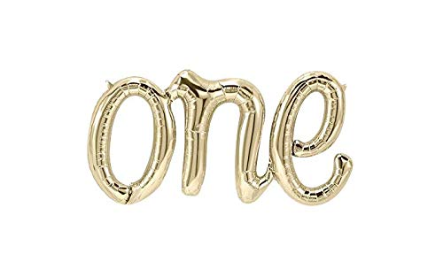 "Alchik Hanging Foils Script Balloon ""ONE"" Word - 20"" Classic Gold Air Balloons - Set of 1 Balloon - Perfect for Baby Shower, Happy Birthday or Any Party Decorations"