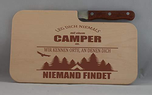 31EA79YRouL Beschdstoff/Schneidebrett mit Messer und Branding/Camping/Größe 26 x 15 x 12 cm Holz Brettchen