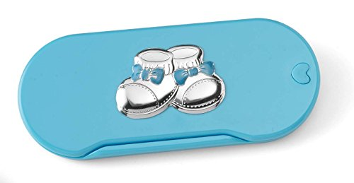 Silver Touch USA Baby First Flatware Utensil Set with Sterling Silver Decoration, Blue ()