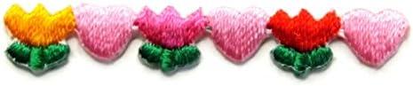 【ノーブランド品】アイロンワッペン ミニワッペン ワッペン 刺繍ワッペン ハート チューリップ アイロンで貼れるワッペン