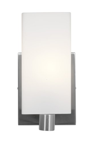 Access Lighting 50175-BS/OPL Archi Wall and Vanity with Opal Glass Shade, Brushed Steel Finish Bs Opal Ceiling Lighting