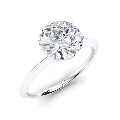 Diamondere Natural and GIA Certified Diamond Solitaire Engagement Ring in 14K White Gold | 0.45 Carat Ring Size 5.5