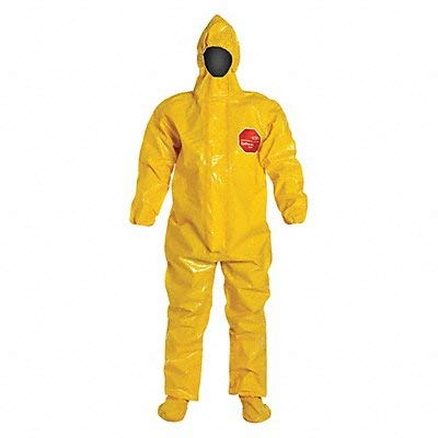 Hooded Coverall Elastic Yellow 2XL PK2