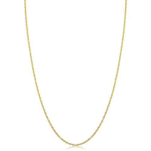 Kooljewelry Solid 14k Yellow Gold Rope Chain Necklace (1 mm, 18 inch)